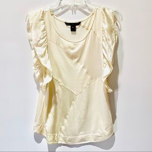 marc by marc jacobs ivory sleeveless ruffled top